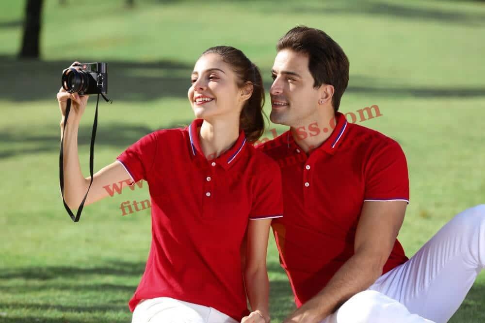 Custom red golf themed tee shirts wholesale